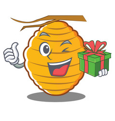 With gift bee hive character cartoon vector
