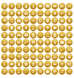 100 it business icons set gold vector