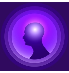 Silhouette of the human head with glowing brain vector