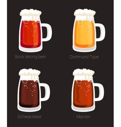 Beer mug or glass goblet isolated icons vector