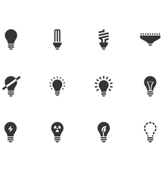 12 Lightbulb Icons vector image vector image