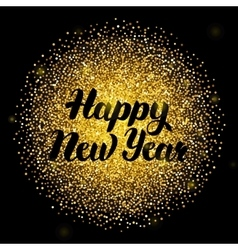 Happy new year lettering over gold vector
