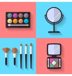 Cosmetic and makeup flat icons set vector
