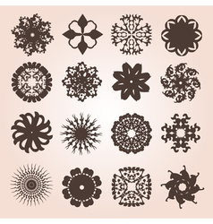 Set of 16 snowflakes vector