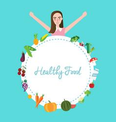 Healthy food fruit vegetables girl celebrating vector