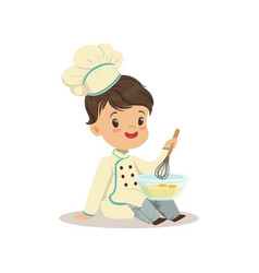 Cute little boy chef with mixing bowl and a whisk vector
