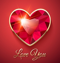Valentines day card with red gemstone vector