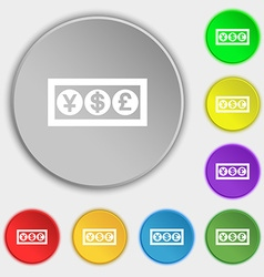 Cash currency icon sign symbol on five flat vector