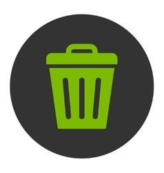 Trash can flat eco green and gray colors round vector
