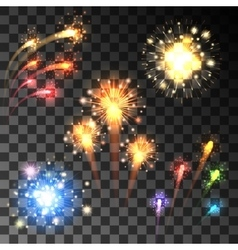 Festive bursting firework set vector