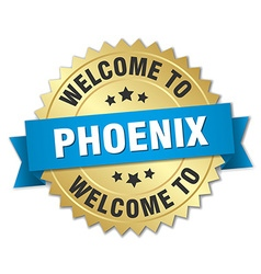 Phoenix 3d gold badge with blue ribbon vector
