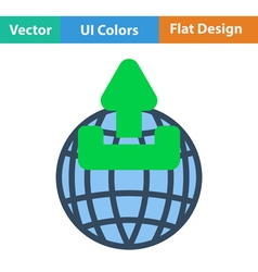 Globe with upload symbol icon vector
