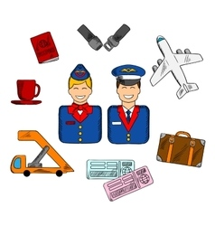 Air travel and service icons vector