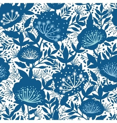 Blue and white garden plants silhouettes seamless vector image vector image