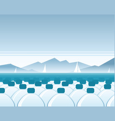Bottled water sea scene vector
