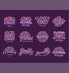 Bright badge for flower shop decorative hand drawn vector