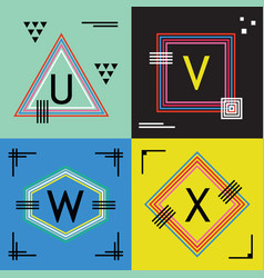 Colorful line capital letters u v w and x emblems vector