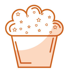 Delicious and sweet cupcake vector
