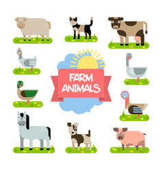 farm animals set in flat design vector image