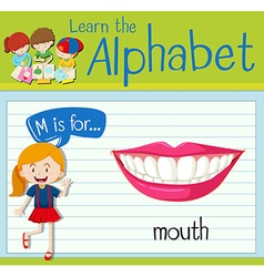 Flashcard letter m is for mouth vector