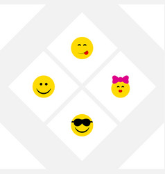 Flat icon gesture set of joy caress delicious vector