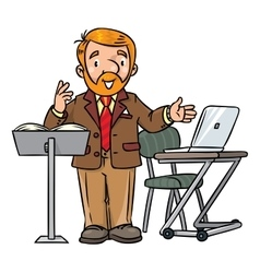 Funny university lecturer Speaking man vector image vector image