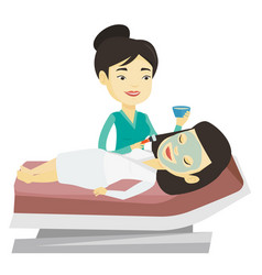 Girl in beauty salon during cosmetology procedure vector