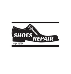 image of logo of shoe repair services vector image vector image
