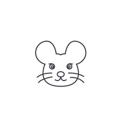 mouse head line icon sign on vector image