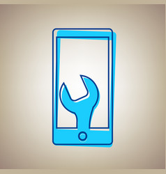 phone icon with settings sky blue icon vector image vector image