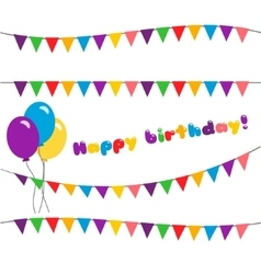 Set happy birthday garland vector image