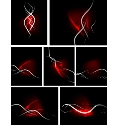 Set of color glowing lines in the dark vector image