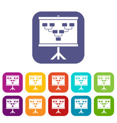 Soccer or football field scheme icons set flat vector