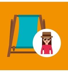 Toursit female hat sunglasses beach chair vector