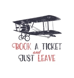Vintage airplane typography poster lettering and vector