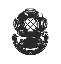Vintage style diver helmet vector