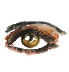 Watercolor hand drawn eye make up vector