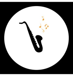 Black simple isolated saxophone musical instrument vector