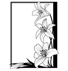 lily frame in black vector image