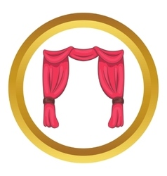 Curtain on stage icon vector