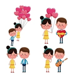 collection couples love funny happy vector image