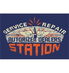 Service station vintage sign board vector