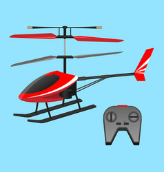 Red helicopter plaything and black small control vector
