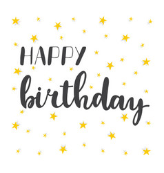 happy birthday greeting card greeting logotype vector image