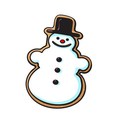 Glazed snowman-shaped christmas gingerbread cookie vector