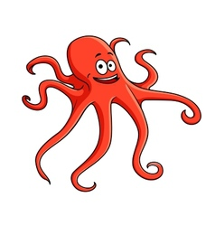 Cute red octopus with curling tentacles vector image