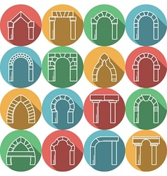 Set of colored flat icons for archway vector