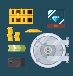 Flat design of cash and valuable safe vector