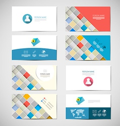 Paper business card template - layout set vector