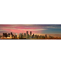 Abstract pink sky background with panorama of city vector